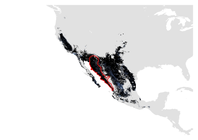 A. Current distribution using only modern data. Potentially suitable climate and habitat shown in black (Range size = 1,298,484 sq.km) and potentially suitable climate shown in blue (Range size= 1,381,047 sq.km). IUCN polygon shown in red.