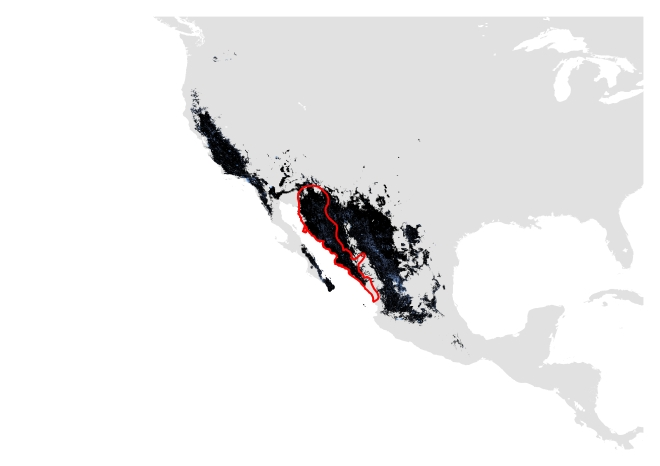 D. Past distribution using modern and past data. Potentially suitable climate and habitat shown in black (Range size = 985,770 sq.km) and potentially suitable climate shown in blue (Range size= 1,057,117 sq.km). IUCN polygon shown in red.